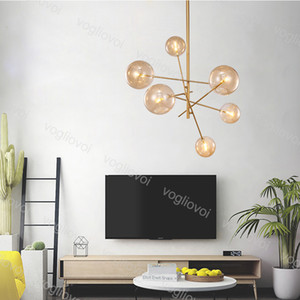 Modern Pendant Lamps G4 Glass Ball Chandelier 6 8 Heads Clear Glass Bubble Lamp 110V 220V For Living Room kitchen Gold Light Fixture
