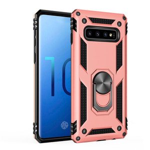 Phone Case Hybrid Armor Kickstand Shockproof Case Silicone Bumper Cover For Samsung S10 S10E S9 A50 A70 note10 Metal Ring Case