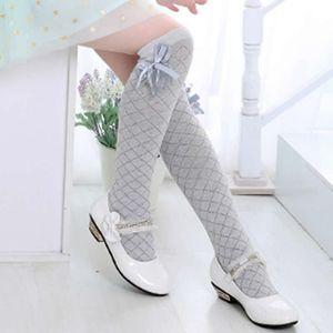 children tube socks rhombus lattice socks cotton lace bow knot thin cotton knee high above long socks baby girl summer wear