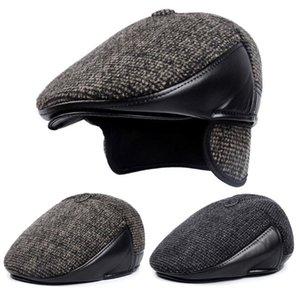 Kış Stil Erkek Şapka Yün Keçe Deri Kalın Erkekler için Earmuff'lar Erkek Kemik babamın Şapka Trucker Kış Şapka ile Berets Isınma