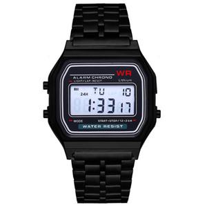시계 2,020 소매 F-91W 스포츠 LED Wach 럭셔리 골드 시계 F-91W 스틸 벨트 얇은 전자 시계 - 91w F