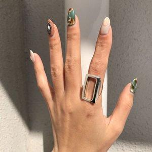 LouLeur reais prata esterlina 925 retangular Anel minimalistas geométricas ajustáveis Anéis aberto para Mulheres 925 Fine Jewelry