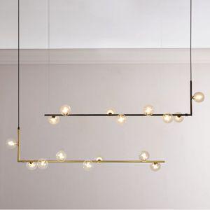 Lumières de lustre minimaliste moderne pour cuisine bar table long lustre led design loft noir boule de verre suspendus luminaire