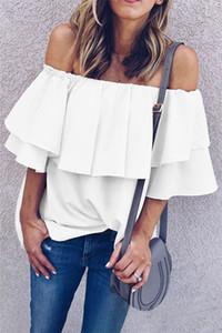 Estate delle donne camicia chiffona casuale singola spalla Moda increspato manicotto allentato Top Famale camicia di colore solido