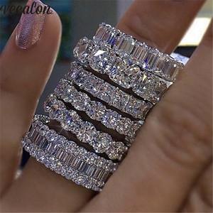 Vecalon 8 stile Lustre Promise Wedding Band Ring 925 Sterling Silber Diamant-verlobungsringe für frauen männer Schmuck