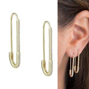 l'or des bijoux des femmes élégantes de la mode d'axe unique de sécurité paperclip concepteur rempli cz Boucle d'oreille délicate 2020 nouvelle