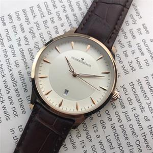 En moda otomatik tarih çift seyretmek moda tasarımcısı altın saat yüzük deri kayış moda erkek ve kadın marka kuvars saatler 40mm32m gül