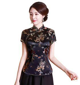 Fashion-Chinese cheongsam top chemisier en soie / satin de Chine en soie / satin chinois pour femmes