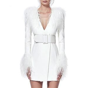 Neue ankunft designer marke frauen runway kleider mit feder quaste langarm v-ausschnitt schlanke mantel bodycon frauen hohe qualität dress p673