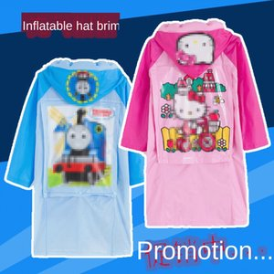 Children's belt baby's pvc enlarged brim Children's Schoolbag poncho belt schoolbag baby's raincoat pvc enlarged brim poncho raincoat