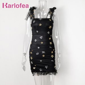 Karlofea New Celebrity Party Dress Sweet Star Sequin Embellished Ruched Dress Chic Tie Shoulder Elegant Wedding Outfits Vestidos