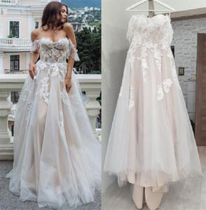Boho Brautkleid 2020 Spitze Tüll Backless a line Brautkleider aus der Schulter Brautkleid Vestido de noiva echtes Foto plus Größe