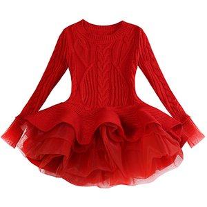 두꺼운 따뜻한 여자 드레스 크리스마스 웨딩 파티 미니 드레스 니트 쉬폰 겨울 아이 여자 옷 아이 옷 소녀 드레스 Y19061501
