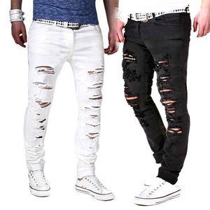 Lasperal Moda Katı Beyaz Kot Erkekler Seksi Ripped Delik Sıkıntı Yıkanmış Skinny Jeans Erkek Rahat Giyim Hip Hop Pantolon 2019 Y19060501