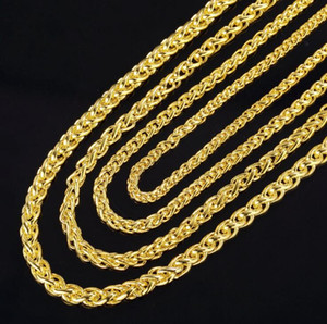 2019 nova moda 3.5mm 4mm 5mm 6mm 50cm / 20inch 925 prata 18k banhado a ouro colar de colar masculino colar torcido jóias