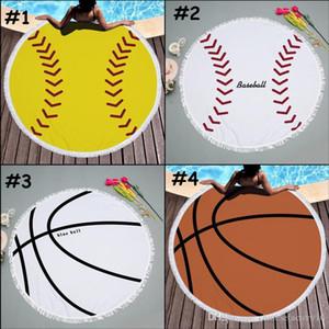 Tapisserie de balle de baseball Softball Tapis de plage Nappe ronde avec Tassel Fringing Beach Serviette Couvre Football Beach Tapis de Yoga Tapis de yoga