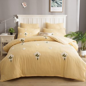 YAXINLAN cama definir a cor pura puro algodão bordado Folha de cama estilo europeu flores, novo produto colcha fronha 6pcs