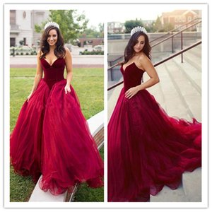 Princess Style Burgundy Prom Dresses Sweetheart Basque Waistline A Line Tulle Long Party Gowns 2020 New Pageant Dresses Custom Made