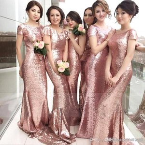 2019 New Rose Pink Sheath Long Bridesmaid Dresses Short Sleeves Jewel Neck Bridesmaid Gowns Sequins Beach Wedding Party Gowns 1053