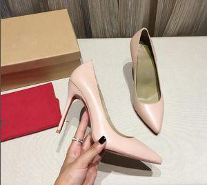 Hot Sale-Fashion Damenschuhe roten High Heels nackt schwarz rote Leder spitze Zehe flache Schuhe kleiden Schuhe