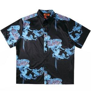2020 Hip Hop Shirt Streetwear Blue Print Mens Гавайская рубашка Сыпучие Негабаритные Harajuku Summer Beach рубашка с коротким рукавом
