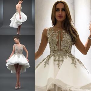 Stunning Alto Basso Backless Homecoming Prom Dresses Appliqued Sheer Bateau Neck Una Linea In Rilievo Vestito Da Cocktail Del Partito A File Organza HD005