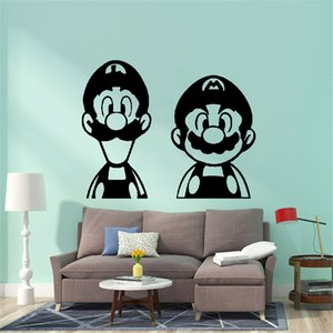 Da parede da sala moderna Super Mario Sticker Gamer PVC Wall Art Wallpaper For Kids Room Decoration Infantil Mural Poster