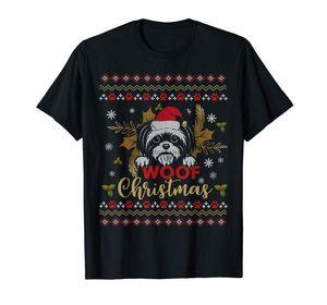 اللحمة شيه تزو القبيحة الكلب عيد الميلاد 2019 T-القميص للرجال تي شيرت الأسود
