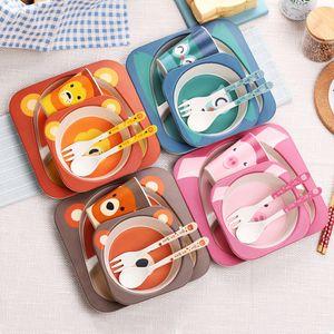 Padrão Bamboo Dinnerware Set animal dos desenhos animados Tableware Set Eco-Friendly de Segurança e Saúde Crianças Crianças Acessórios de cozinha T200430