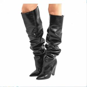 Sonbahar Kış Kadın Boots Kürk Sıcak Deri Uyluk Yüksek Boots Moda Seksi Knee Üzeri Botlar Yüksek Topuklar Ayakkabı Kadın