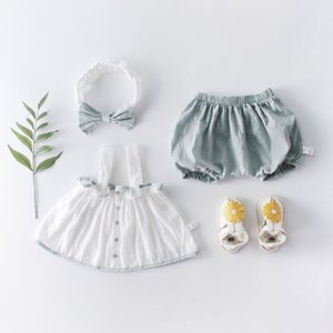 2019 Summer Baby Outfits Cotton Button Sleeveless Tops Newborn Baby Girl Clothes Bloom Pants Hair Band Baby Suit Beautiful roupa T200706