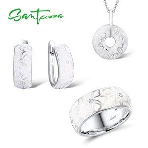 Santuzza Jewelry Set Handmade Enamel White Flower Cz Stones Ring Earrings Pendent Genuine 925 Sterling Silver Women Jewelry Set Y19051302