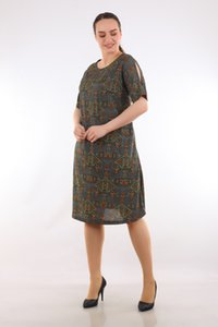 Lire Ladies Large Size Color Pattern Crepe Dress 1536 Ship from Turkey in 2373