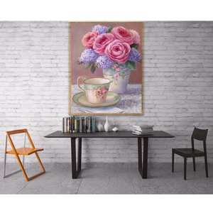 wholesale 5D Peony Flower cup Full Diamond Painting cross stitch kits art High Quality Floral 3D paint by diamonds