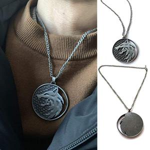 Colar Cabeça de Lobo Moda Nome colar pingentes de moda jóias Partido Lobo Medallion Witcher colar redonda Longo Men presente 0128
