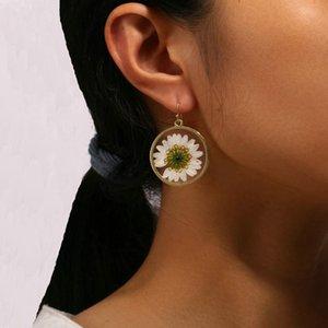 Avrupa ve Amerikan yeni stil çiçek geometrik Küpe Retro ulusal hava kurutulmuş çiçek Earrings ins tarzı kadınlar