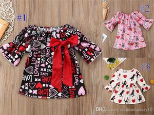 طفل الفتيات اللباس بوتيك عيد الحب الحب مضيئة الأكمام القوس الأميرة الديناصور الكلب مطبوعة فساتين الرضع