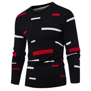 Mens Herbst Mode Kontrast Farbe dünne New Pullover Männer beiläufige Oberseiten lose High Street Pullover Kleidung