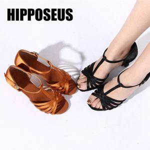 Hipposeus Girls Dance Shoes Women Ballroom Latin Dance Shoes Ladies Samba Tango Dancing Samba Salsa Sandral Wholesale