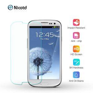 Nicotd vidrio templado para el Samsung Galaxy S3 S4 S5 S6 S7 A3 A5 J3 2015 2016 Gran primer protector de la pantalla HD 2.5D película protectora