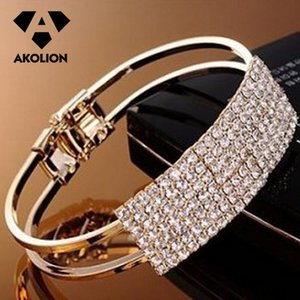 Acessórios AKOLION 2019 DIY Bangles Mulheres Moda Simples Jóias moda Noble Multi-Row prata e pulseira cor do ouro