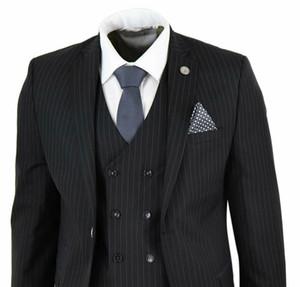Hommes 3 COMBI années 1920 Gatsby Peaky oeillères Gangster Fit Smokings fines rayures costume sur mesure Prom (veste + pantalon + Gilet)