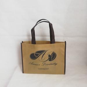All'ingrosso 500 pc / lotto 25Hx20x8cm personalizzati riutilizzabili non tessuti borse per la spesa Tote con un colore stampato promozione del deposito Bag