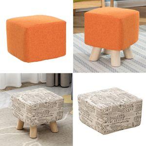 4Pcs Baumwolle Leinen stool Sitzbezüge Elegante quadratische Hocker Slipcovers Ottoman Abdeckung 2xOrange, 2xBeige-28x28x18cm