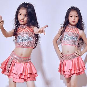 Hip Hop Costume Filles Enfant Jazz Cheerleading Dance Costumes Enfants Vêtements Rose Paillettes Tutu Jupes Street Dance Vêtements DN1776