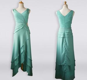 2020 Image réelle Salut faible couches Jupe mère de la mariée Robes double encolure en V Plis Robe de Soirée Femme Robe formelles occasions spéciales Dres