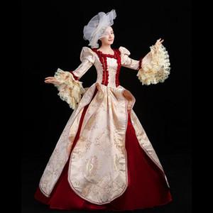 100% реальной вспышка рукава кружево карнавал бальной Средневековая Ренессанс платье королева костюм викторианское платье / Marie Antoinette / студия