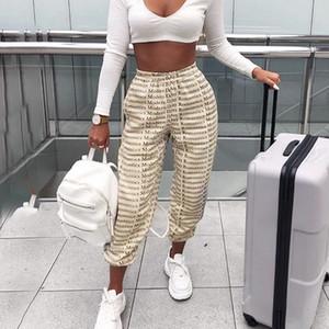 Yeni Geliş Kadınlar Harf Gevşek Günlük Sade Moda Pantolon 2019 Sonbahar İpli Harajuku Capris Femme Ter Pantolon T191025 yazdır