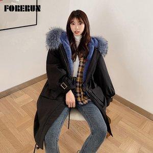 여성용 Parkas forerun 겨울 긴 코트 여성 큰 모피 후드 재킷 양 안감 코튼 패딩 파카 캐주얼 Manteau Femme Hiver