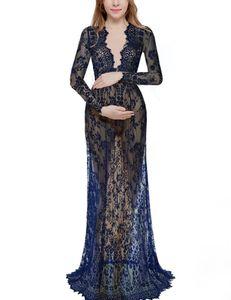 Una línea de encaje transparente Sheer manga larga barato más el tamaño de maternidad embarazadas vestidos de noche vestido de fiesta largo rojo negro vestido 2019